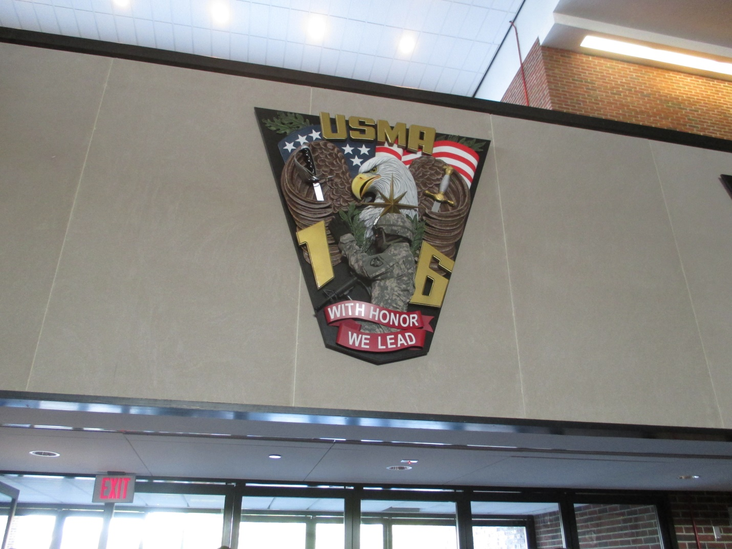 An eagle symbol 2016 on the wall for US military in west point new York.